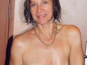 Topless older females are masturbating themselves