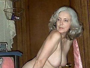 Horny old mistress spreading her legs on picture